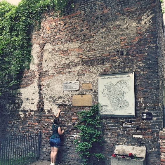 Author with the Warsaw ghetto wall